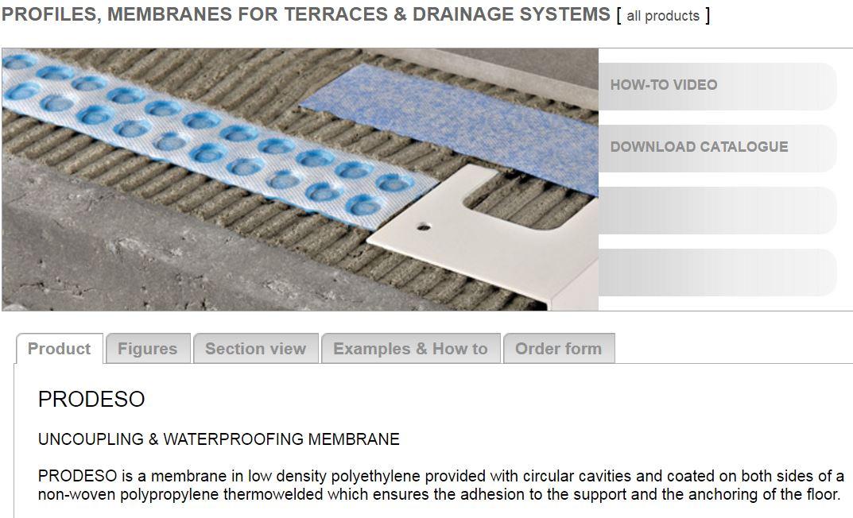 PRODESO membrane (uncoupling & waterproofing membrane)